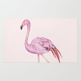 Blush Pink Watercolor Flamingo Art Rug