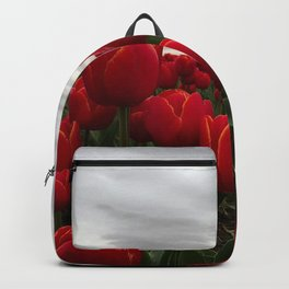 Red Tulips with silver-gray sky Backpack