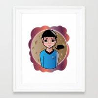 spock Framed Art Prints featuring Spock by hannahroset