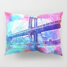Colorful New York Pink Blue Photograph Pillow Sham