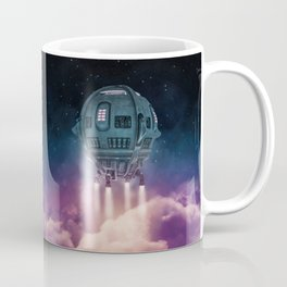 Out of the atmosphere / 3D render of spaceship rising above clouds Coffee Mug