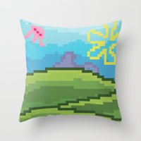 bikini Throw Pillows featuring Bikini Bottom by JayPii