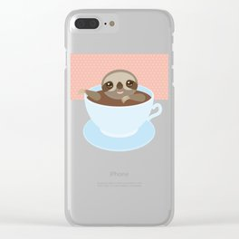 Sloth in a blue cup coffee, tea, Three-toed slot Clear iPhone Case