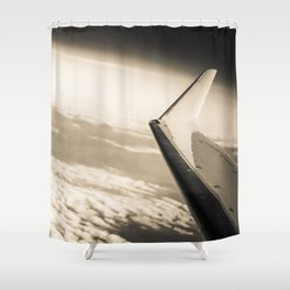 Airplane View Black And White Shower Curtain