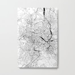 Rome White Map Metal Print