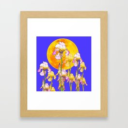 IRIS GARDEN & RISING GOLD MOON  DESIGN ART Framed Art Print