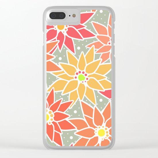 Poinsettia. Retro. Clear iPhone Case