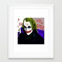 the joker Framed Art Prints featuring joker by Saundra Myles