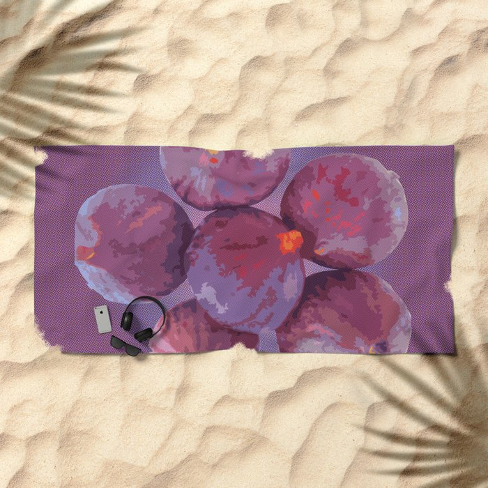purple figs Beach Towel