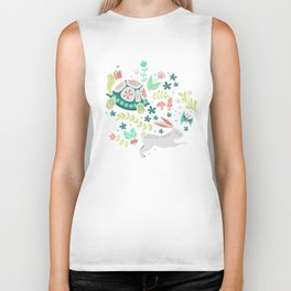 Spring Pattern of Bunnies with Turtles Biker Tank