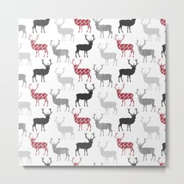 Christmas Pattern Deer Metal Print