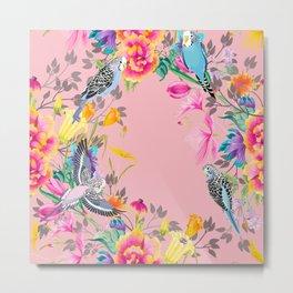 Stardust Pink Floral Birds Motif Metal Print