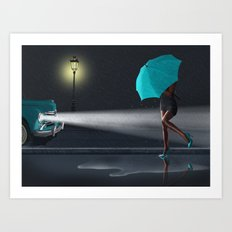 Rainy Day Variante 2 in Green Art Print