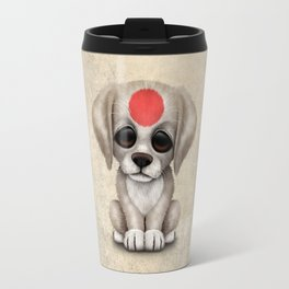 Cute Puppy Dog with flag of Japan Travel Mug