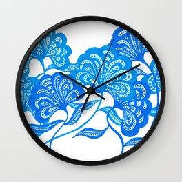 Blue Bloom Wall Clock