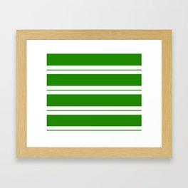 Strips - green and white. Framed Art Print