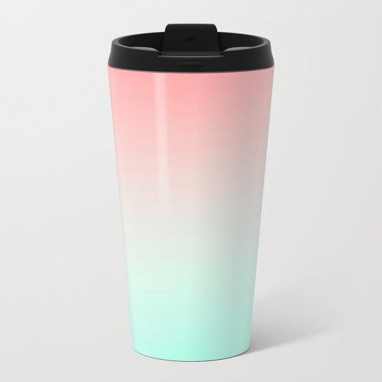 Ombre gradient digital illustration coral green colors Metal Travel Mug