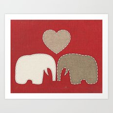 Appliqued Elephants Art Print