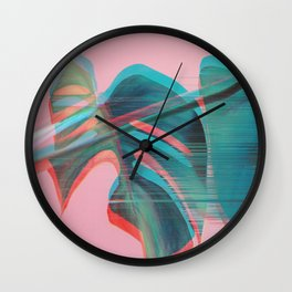 Glitch Monstera Theme Wall Clock