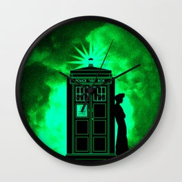 Tardis In Light Green Shadow Wall Clock