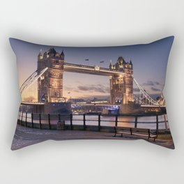 Historic Tower Bridge Thames River London Capital City England United Kingdom Romantic Sunset UHD Rectangular Pillow