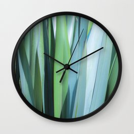 blue and green leaves Wall Clock