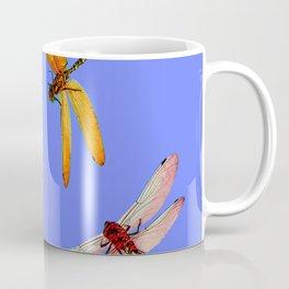 COLORFUL DRAGONFLIES IN BLUE SKY  DESIGN Coffee Mug