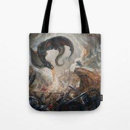 Black Battle Dragon Tote Bag