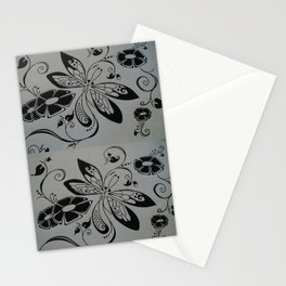 Dragonfly retro flowers Stationery Cards