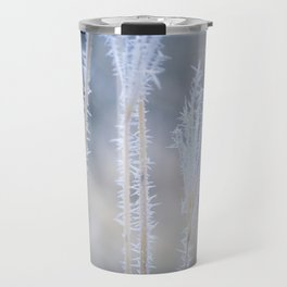 Cold Hoarfrost on the weeds in the winter Travel Mug