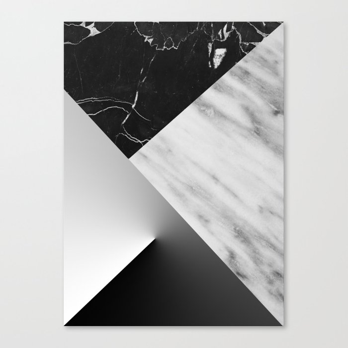 Monochromatic Marble Collage  Canvas Print