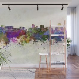 Grand Rapids skyline in watercolor background Wall Mural