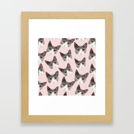 girly cute pink pattern snowshoe cat Framed Art Print