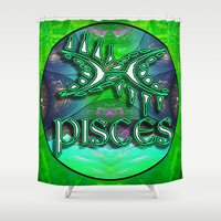 astrology Shower Curtains featuring Pisces Zodiac Sign Astrology by CAP Artwork & Design