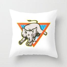 Elephant Jumping Bucking Triangl Throw Pillow