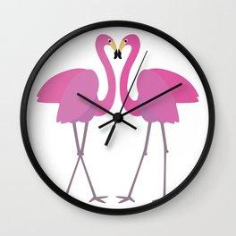 Flamingos in love Wall Clock