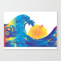 hokusai Canvas Prints featuring Hokusai Rainbow & Hibiscus_Y  by FACTORIE