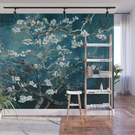 Van Gogh Almond Blossoms : Dark Teal Wall Mural