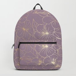 Faux Gold & Mauve Hibiscus Backpack