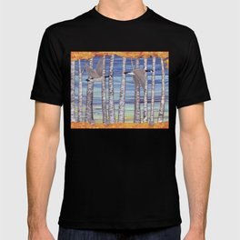 Canada geese, hedgehogs, and autumn birch trees T-shirt