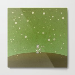 Small winged polka-dotted beige cat and spring Metal Print