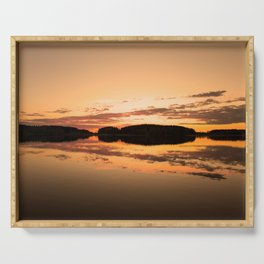 Beautiful sunset - glowing orange - forest silhouette and reflection Serving Tray