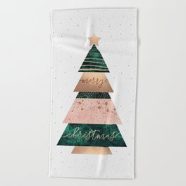 Merry Christmas Tree Beach Towel