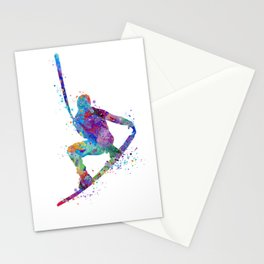 Wakeboarding Boy Watercolor Art Watersports Gift Wakeboarder Gift Stationery Cards