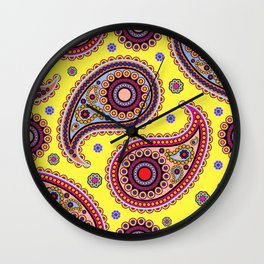 Oriental Persian Paisley, Dots - Yellow Blue Pink Wall Clock