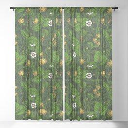 Wild strawberries, yellow and green Sheer Curtain