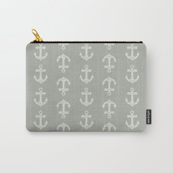 Gray Grey Anchors Carry-All Pouch