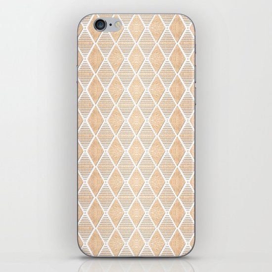 White and Copper Geometric Pattern iPhone Skin