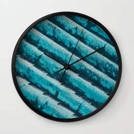 AQUA BLUE ROOF TILES Wall Clock
