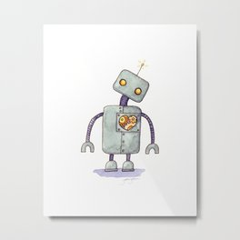 Robot With A Heart Metal Print